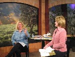 Lisa filming TV Show Peace in the Storm with Maureen Pratt