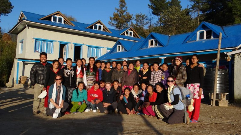Newly completed Salleri Girl's Hostel, Nepal with volunteers and workers