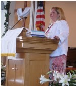 Lisa speaking at the church she grew up in in Creswell, OR