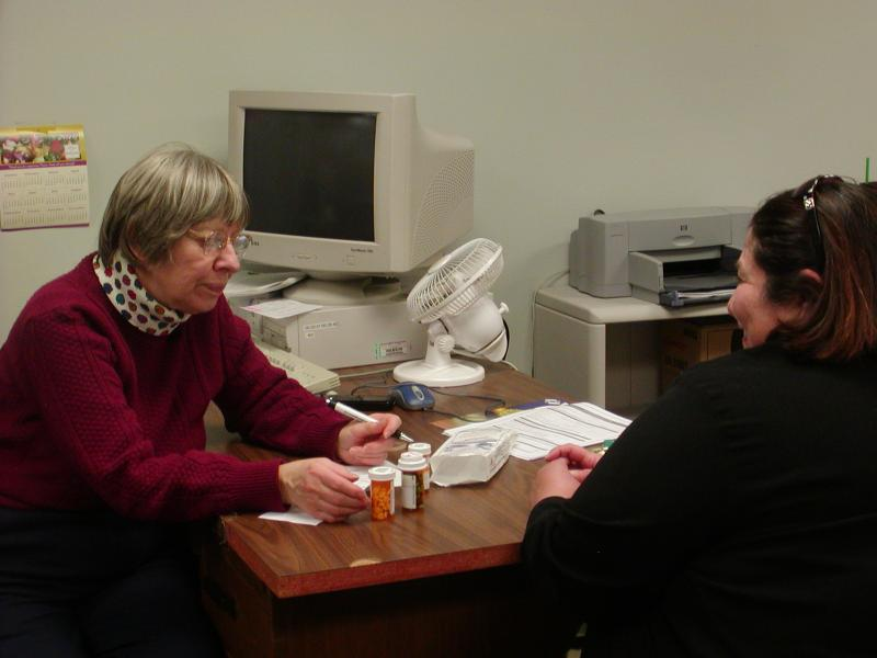 Client receiving medication