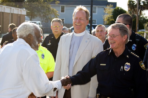The Rev. Dr. Robert Lee and Jacksonville Sheriff Rutherford walk the Eastside to meet neighbors.