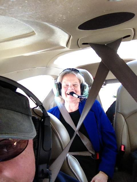 Margaret Cantrell enjoying her flight from Houston to New Orleans