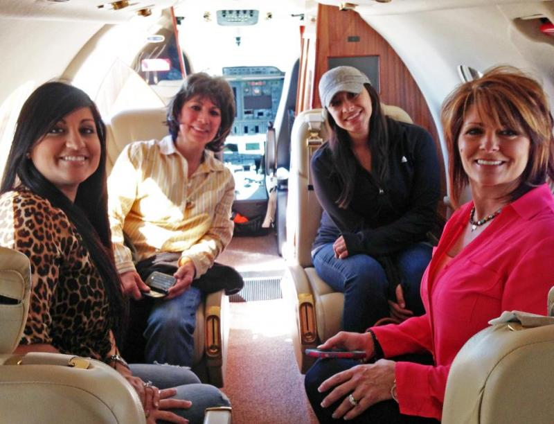 The ladies aboard Dianna Stanger's plane