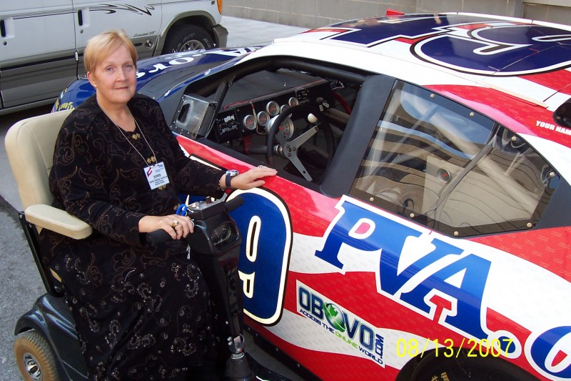Keystone PVA member Doris Ganzy inspected the PVA-sponsored race car