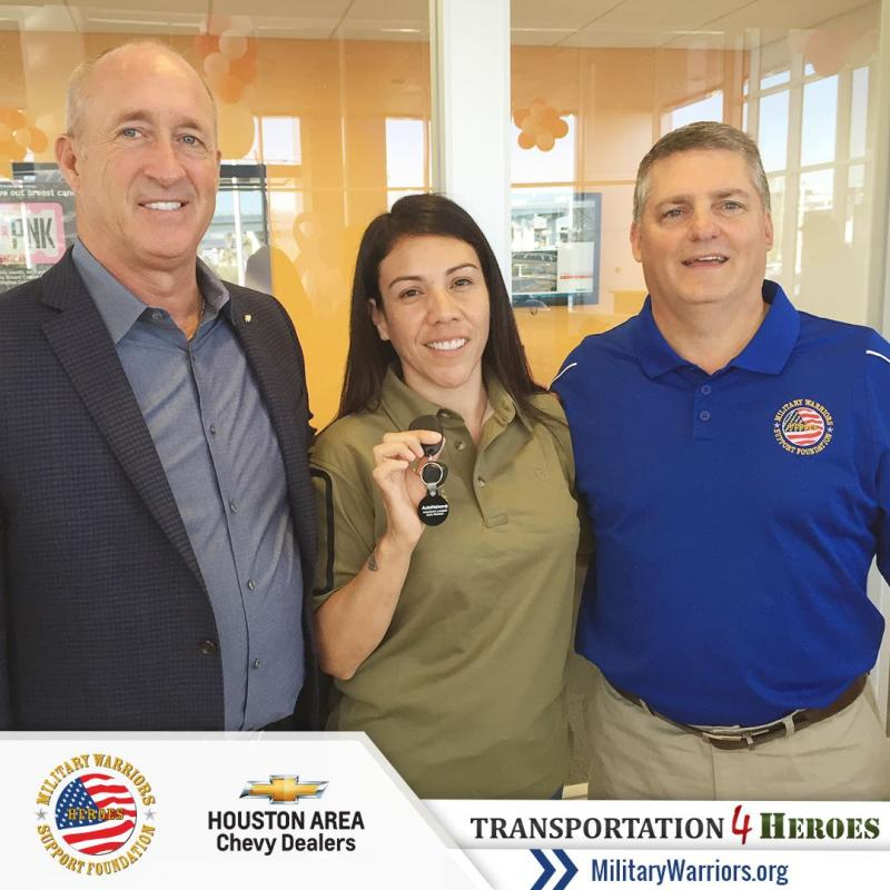 Congratulations SSgt Aquino on your brand new, payment-free car! Awarding her the car was possible through our Transportation4Heroes program.  On September 5th, The Military Warriors Support Foundation and the Houston Area Chevy Dealers surprised U.S. Mar