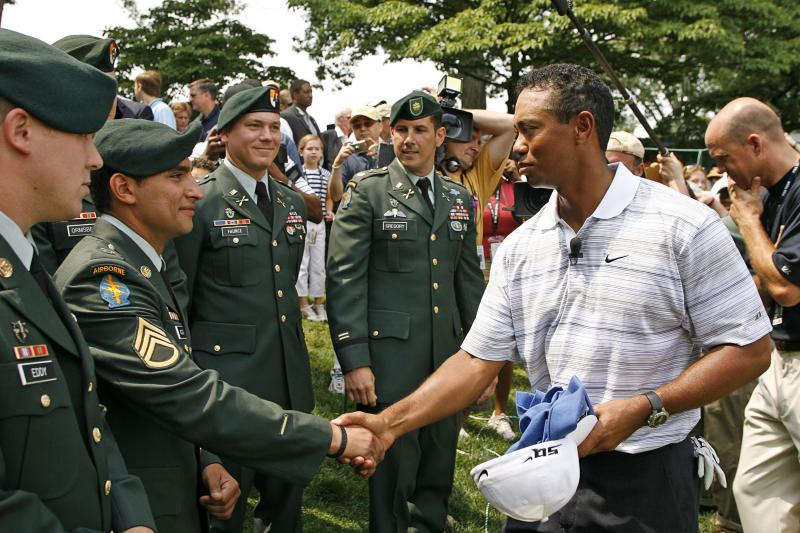 Tiger Woods Greets Our Military