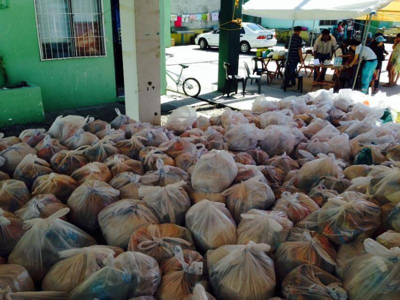 Typhoon Haiyan relief goods being distributed in Leyte, Philippines on Nov. 15, 2013