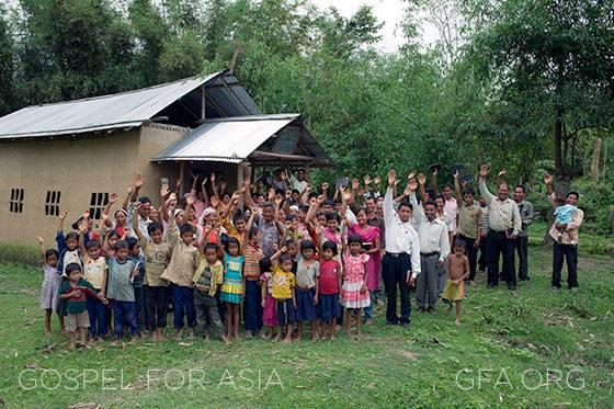 Gospel for Asia helps provide church buildings for congregations like this throughout Asia.