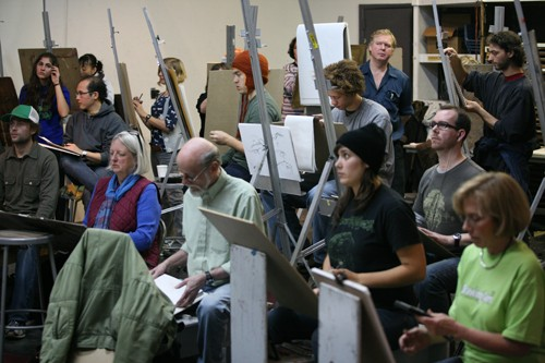 The annual 12-hour Gage 'Drawing Jam' draws hundreds of artists of all age draw & sculpt.