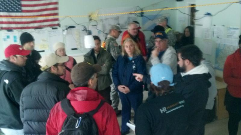 Working with local community and aid workers in Rockaway, NY local citizen command center