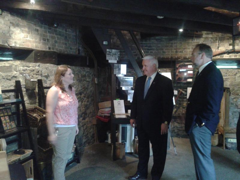 Pennsylvania Governor Tom Corbett stopped by the Block House for an informative tour by Curator, Emily Weaver.  Accompanying the Governor on his visit was Andy Masich, President and CEO of the Senator John Heinz History Center.