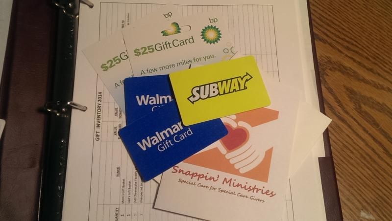 Just a sample of the many gift cards we mail to parents in need of support