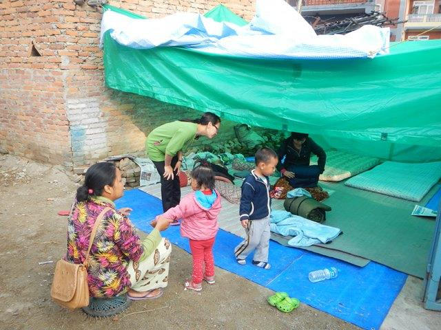 BCM-BWAid missionaries in Nepal earthquake shelter