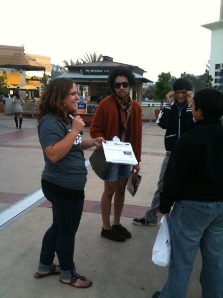 Gaby, in the field talking with voters