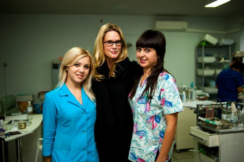 Our celebrity ambassador, Stephanie March, on a recent trip to Ukraine to visit Honoree Adi Roche
