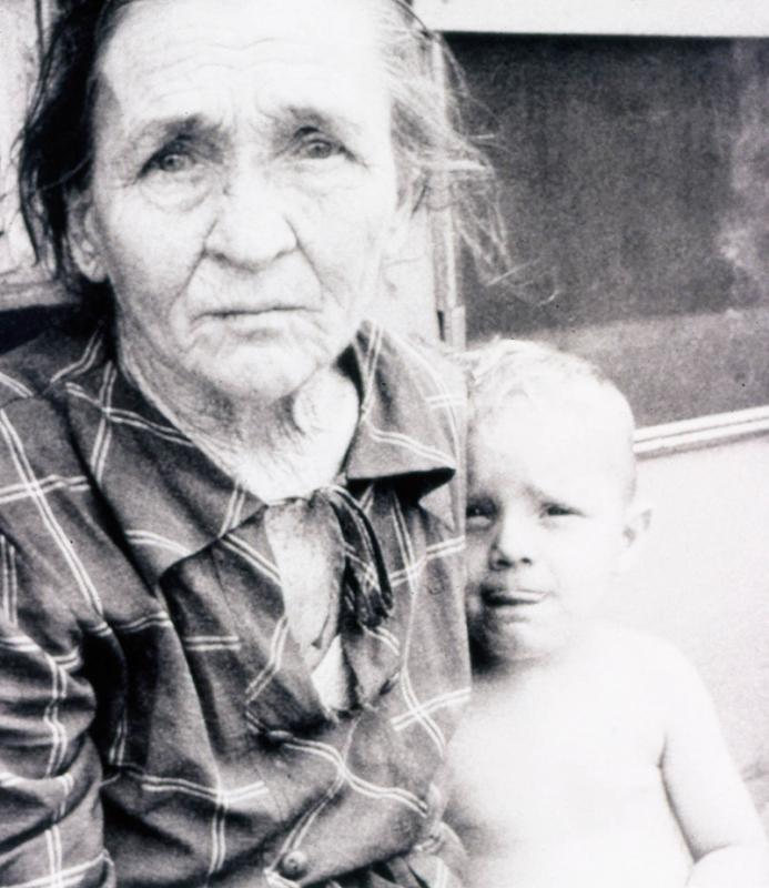 Poverty stricken grandmother and grandchild