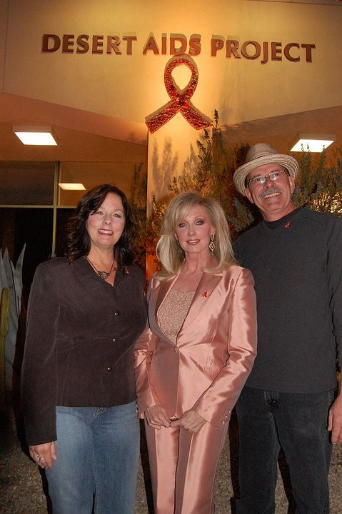 Morgan Fairchild with AIDS Ribbon Sculpture Artsts Charles and Linda Perkins