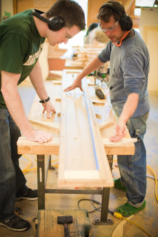 Students at work in the woodshop