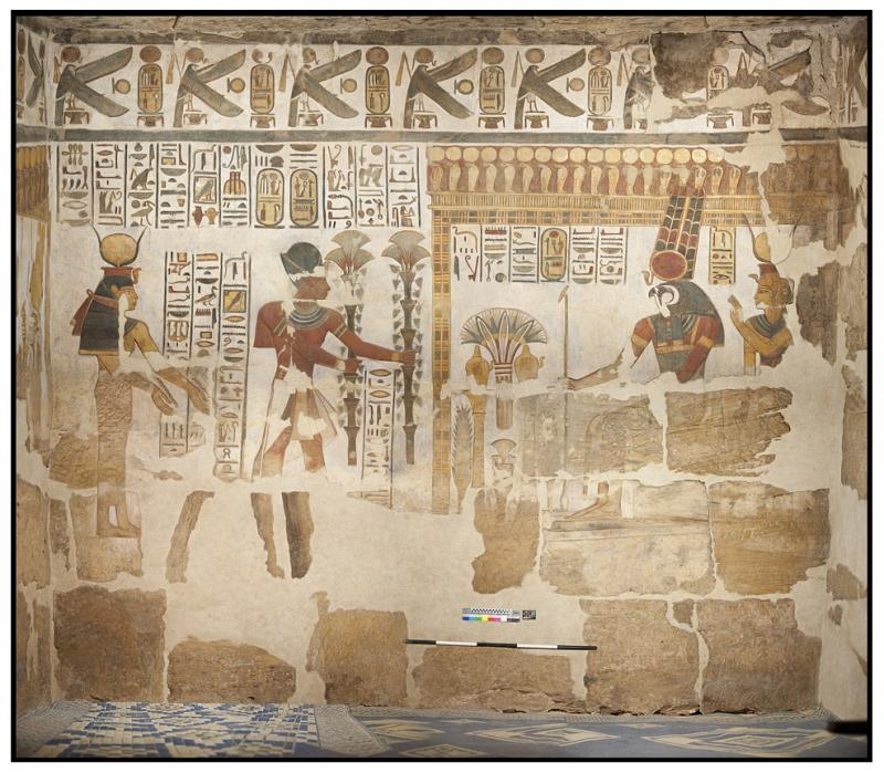 Cleaning hieroglyphs in Chapel 12 of Khonsu Temple