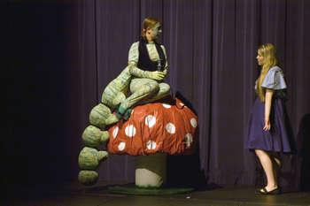 Alice and the Caterpillar in Alice in Wonderland