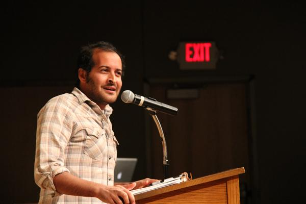 Anis Mojgani performing as part of the Equilibrium spoken word series.