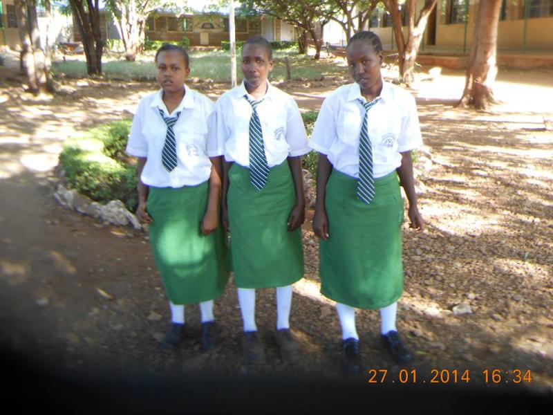 Asha, Serena and Janet in their new school uniforms. They started secondary school in January, 2014.
