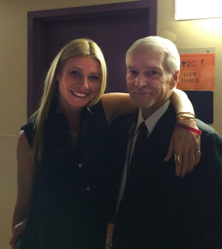 OCF Founder and Executive Director, Brian Hill, with OCF Supporter, Gwyneth Paltrow, back stage at the 2014 live telethon of Stand Up to Cancer.