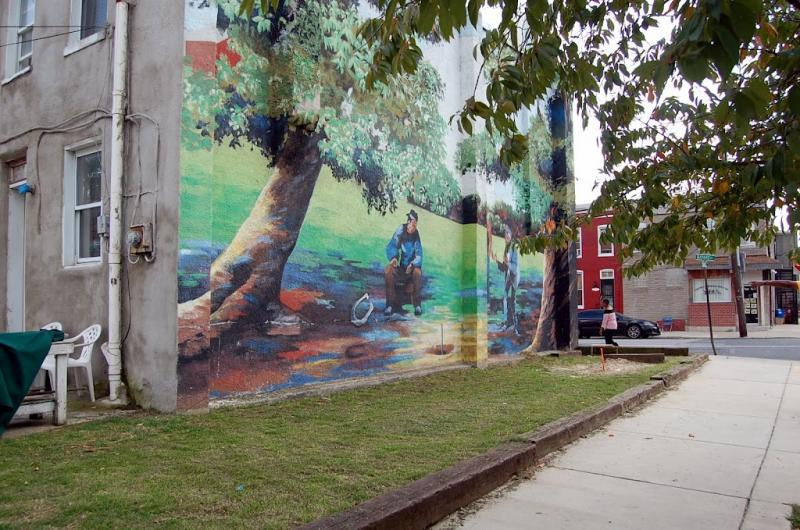 CLC can help neighborhoods with mural and park projects.  This is the Pigtown Horseshoe Pit.