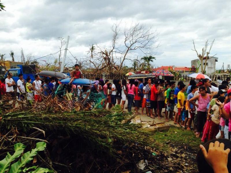 Typhoon Haiyan victims waiting in line for relief goods in Ormoc City, Leyte, Philippines.