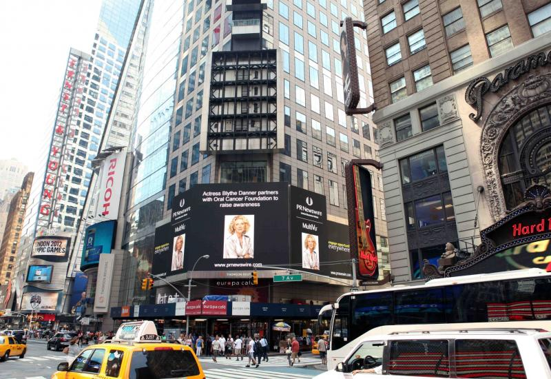Blythe Danners partnership with OCF makes news in Times Square!
