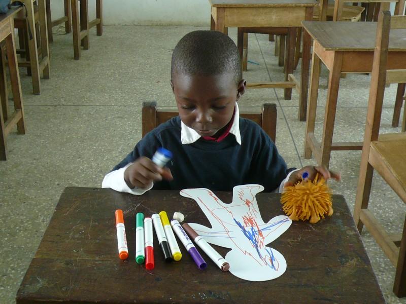 Gbanfa - Age 3 in art class