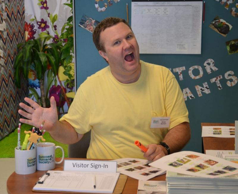 Visitors to our animal care center can expect to be greeted by a cheerful volunteer like Brian who is glad to help you!
