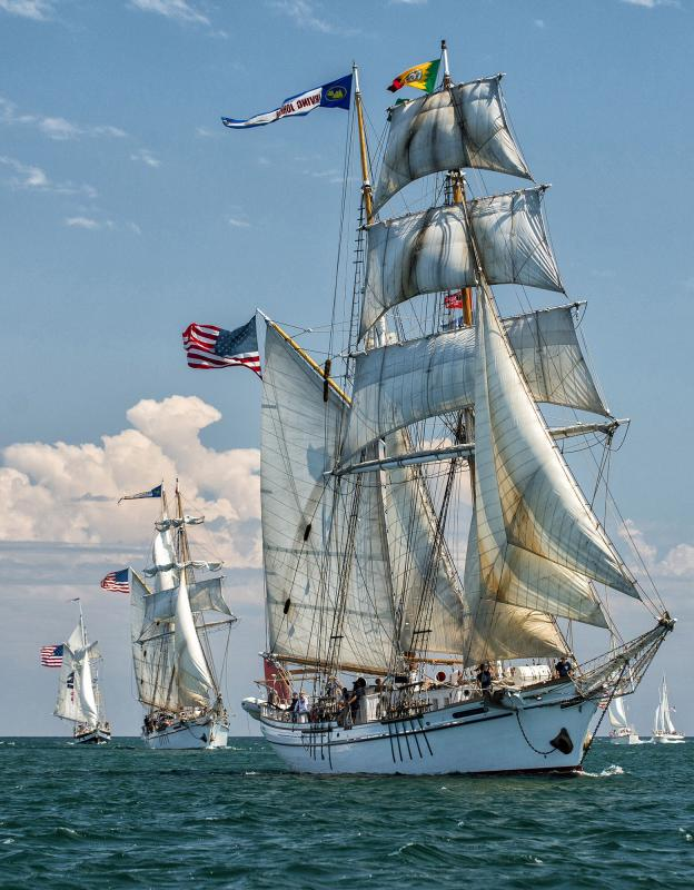 Twin brigantines Irving and Exy Johnson lead the Parade of Sail at Tall Ships Festival LA 2014.