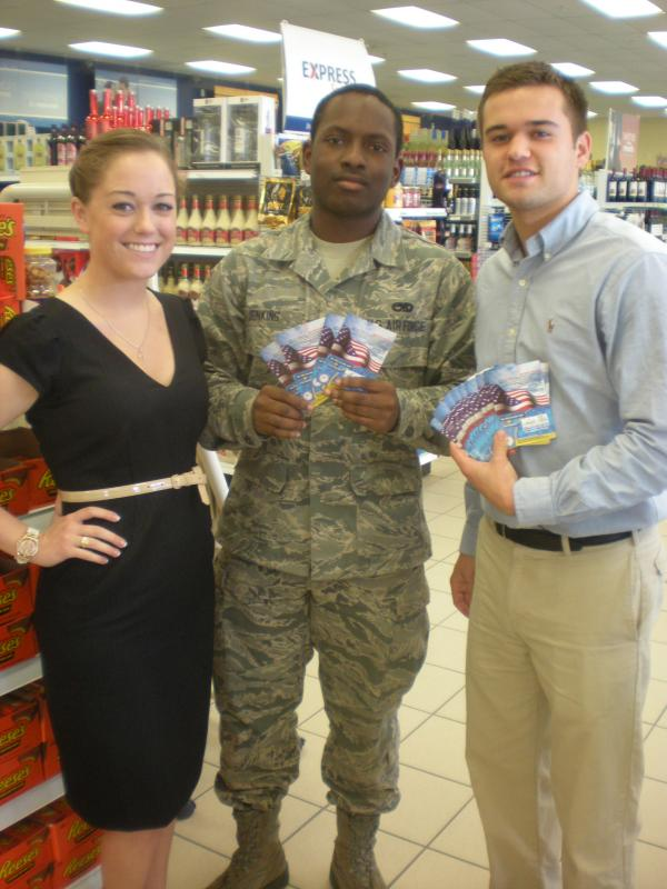Donating calling cards to military members at Langley Air Force Base.
