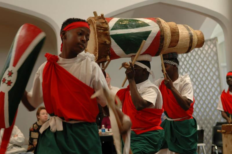 Burundi Drummers in the US include women and ethnic groups who are/were in conflict in Africa