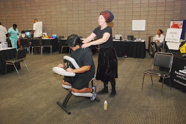 CHAMPS participant receiving a free massage