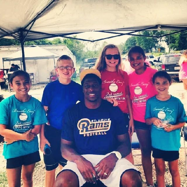 Jared Cook of the St. Louis Rams donating his time at CWL's 2nd Annual Coping With LM Charity Co-Ed Softball Tournament. (June 2014)