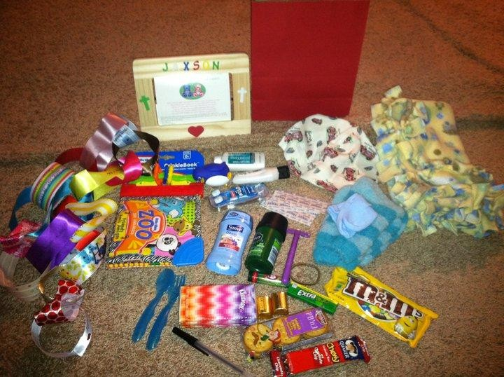 An example of our care packages. Lots of home made and personalized items for the child and family.