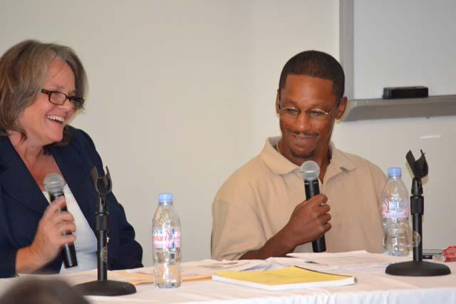 John Smith (exoneree) and his lawyer Deirdre O'Connor speaking at Chapman Law School two weeks after his release from prison.