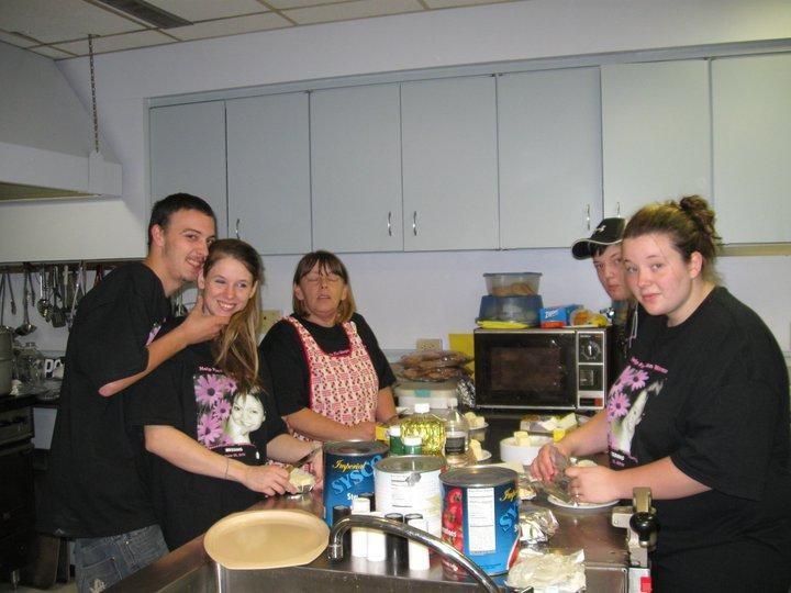 Preparing spaghetti supper for Megan Waterman's benefit