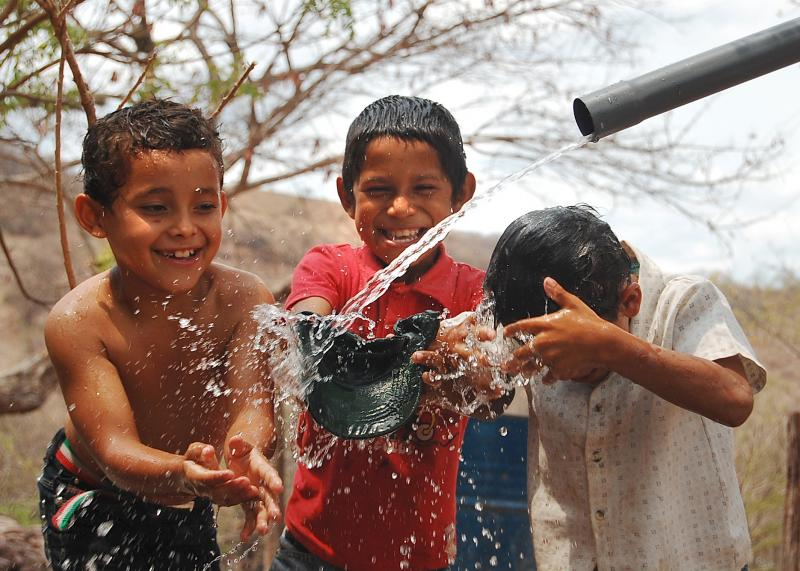 Clean Water for the 1st Time! Carlito V., Omar J., Hector R. in El Jocote, Nicaragua, April 2011.