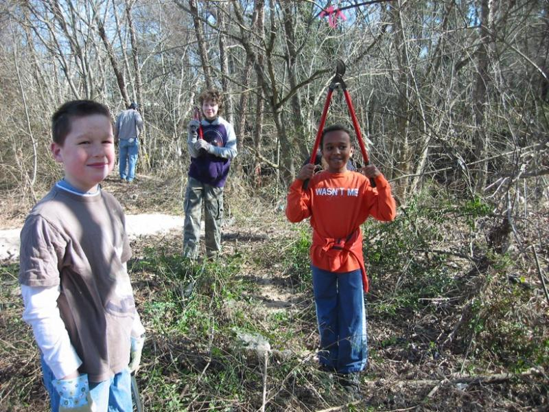 Cub Scouts volunteer on the Meadow Loop Trail