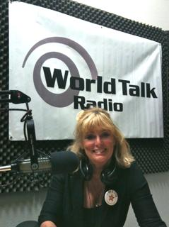 Cynthia Brian on air at World Talk Radio