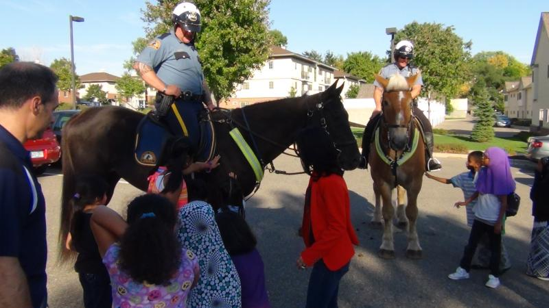 Thank you to the St. Paul Police Mounted Unit for visiting youth at Ames Lake Neighborhood.