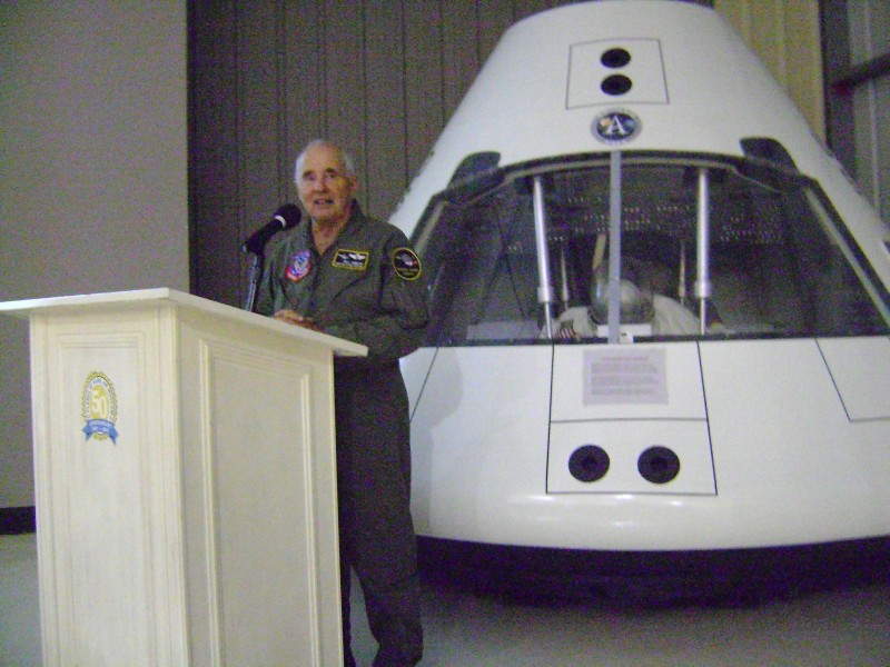 Astronaut Bill Anders speaking in front of our Apollo Capsule at the Taste of Flight fundraiser