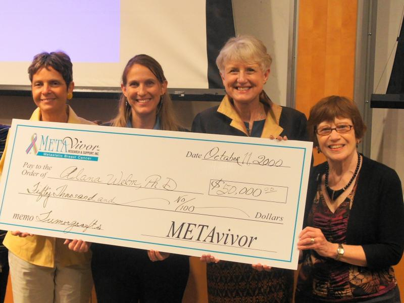 One of METAvivor's 10 metastatic breast cancer research grants given. This one went to Alana Welm, PhD - for her research with tumorgraphs.