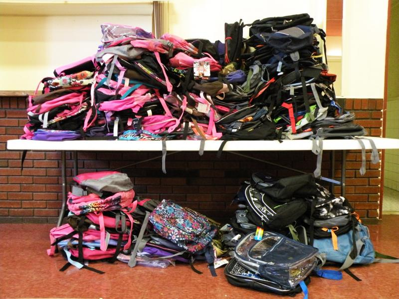 A few of thousands of backpacks collected during Operation Backpack 2011