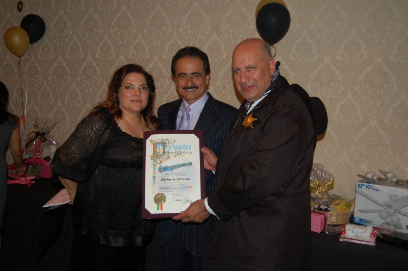 Christi Metropole, SCA Executive Director, with Councilmen Alarcon and Zine receiving award