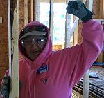 Family Partner of Habitat for Humanity does her sweat equity in building her home in Fitchburg, MA