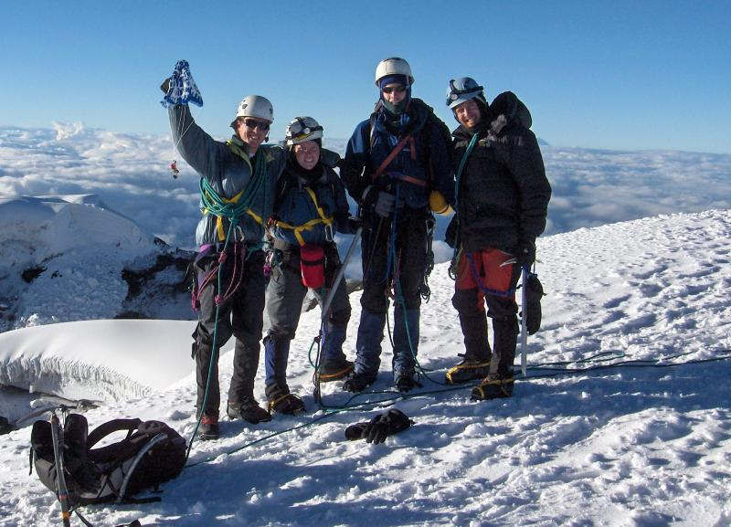 Celebrating on the Summit in the Ecuadorian Andes